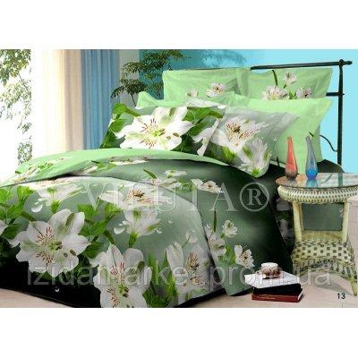 Семейное постельное белье - Белые цветы -Поплин фирмы Вилюта