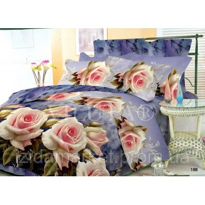 Семейное постельное белье - Розовые розы -Поплин фирмы Вилюта