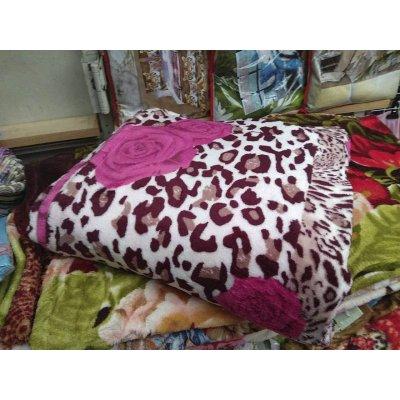 Меховое двуспальное покрывало на кровать - Код 4-107