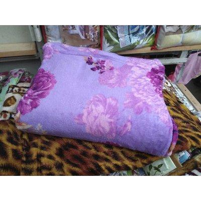 Меховое двуспальное покрывало на кровать - Код 4-114