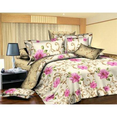 Двуспальное постельное белье София 3Д - Цветочный вензель