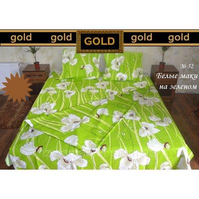 Белые маки на зеленом - Постельное белье бязь голд полуторное