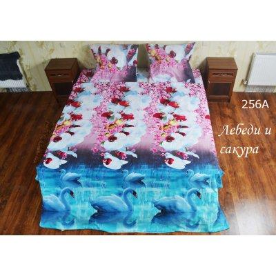 Лебеди и сакура - Семейное постельное белье Ранфорт