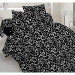 Полуторное постельное белье  Бязь Голд - Белый вензель на черном